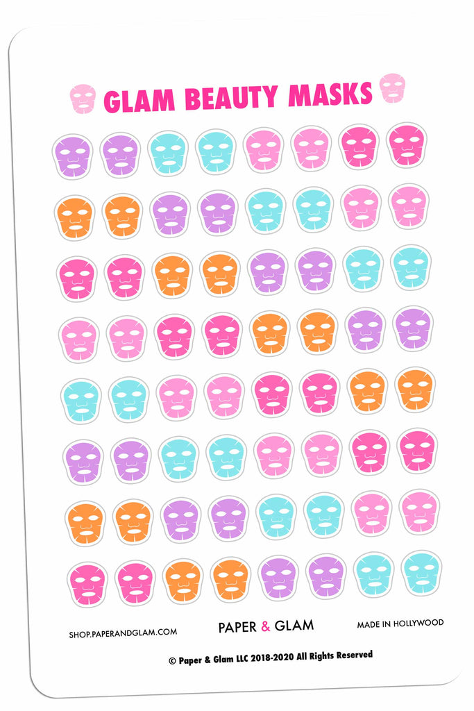 Glam Beauty Mask Digital Planner Stickers