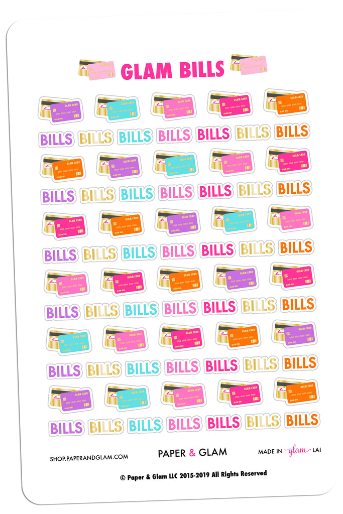 Gold Foil Glam Bills Planner Stickers