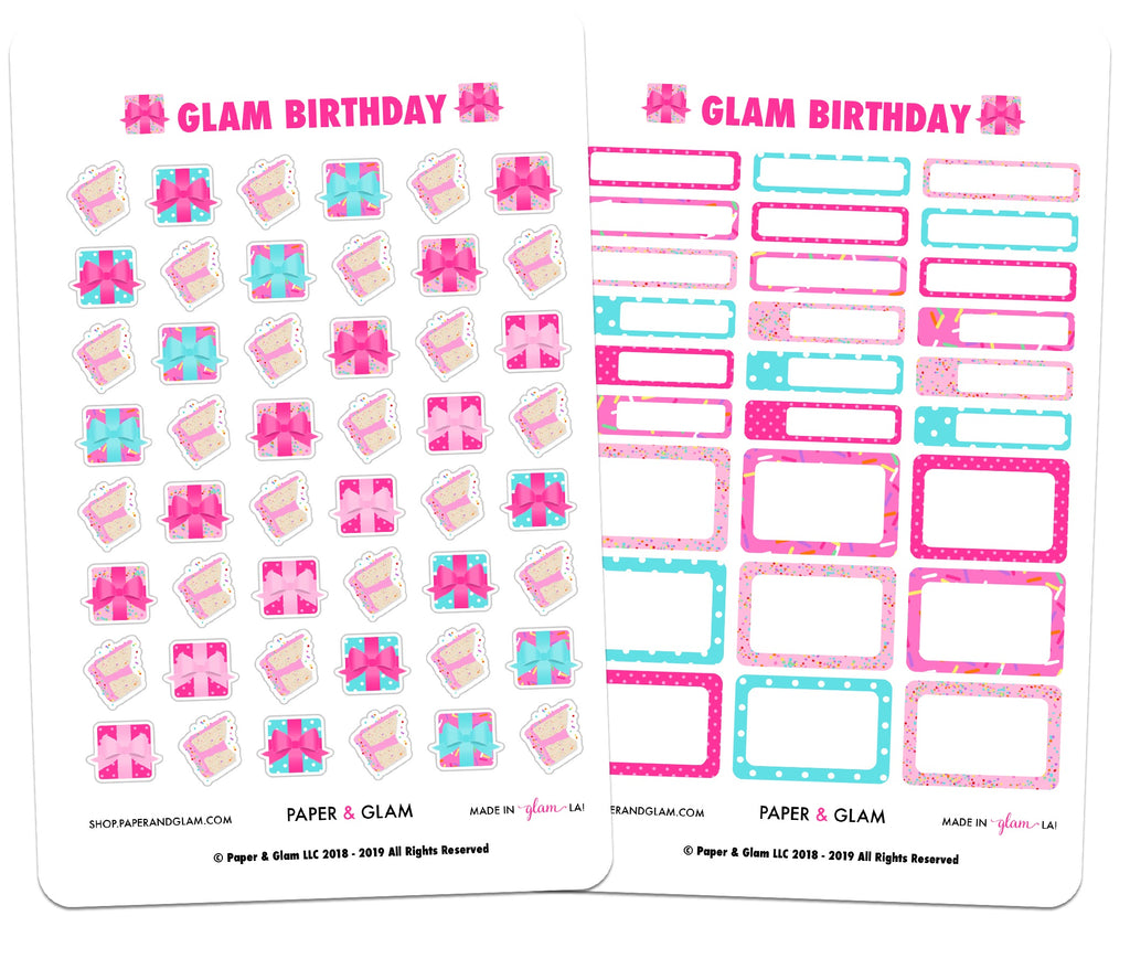Glam Birthday Tracking Planner Stickers