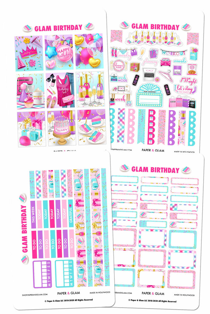 Glam Birthday Weekly Kit Planner Stickers