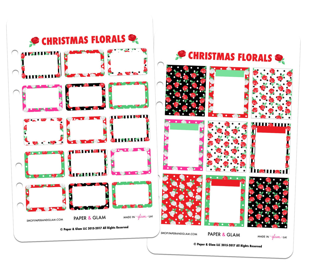 Glam Christmas Floral Basics Planner Stickers