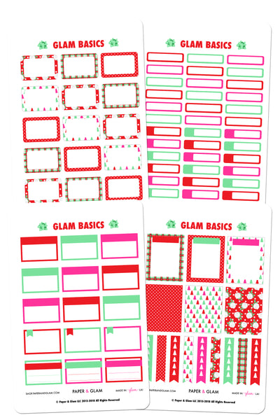 Glam December Basics Planner Stickers