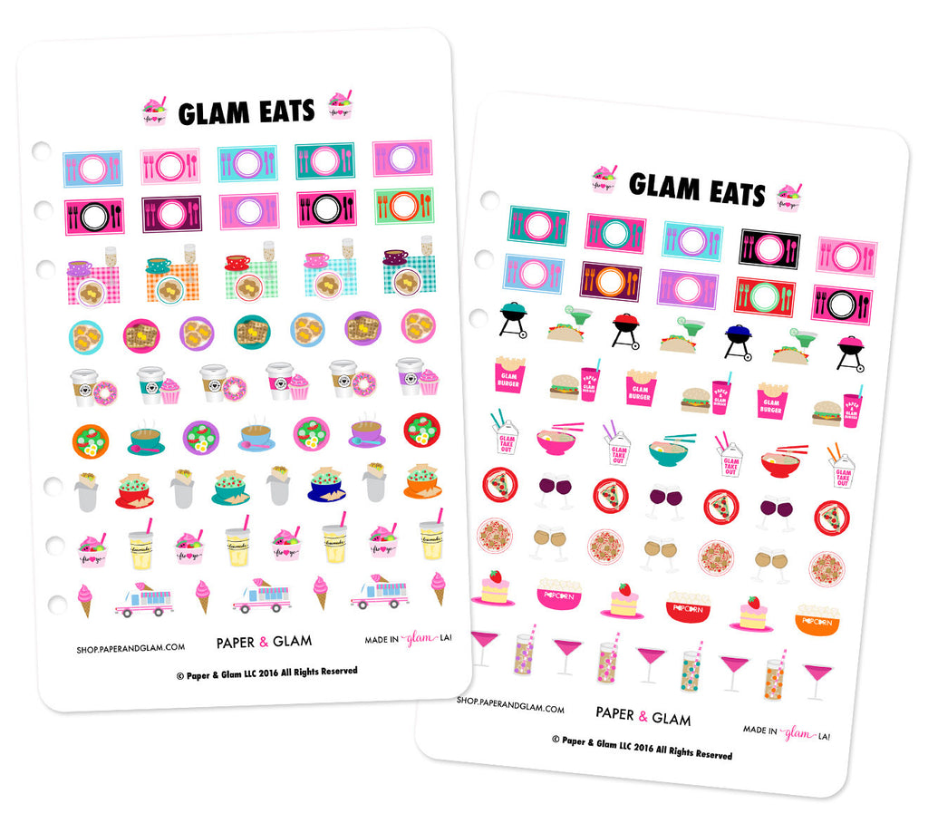 Glam Eats Digital Planner Stickers - RETIRED