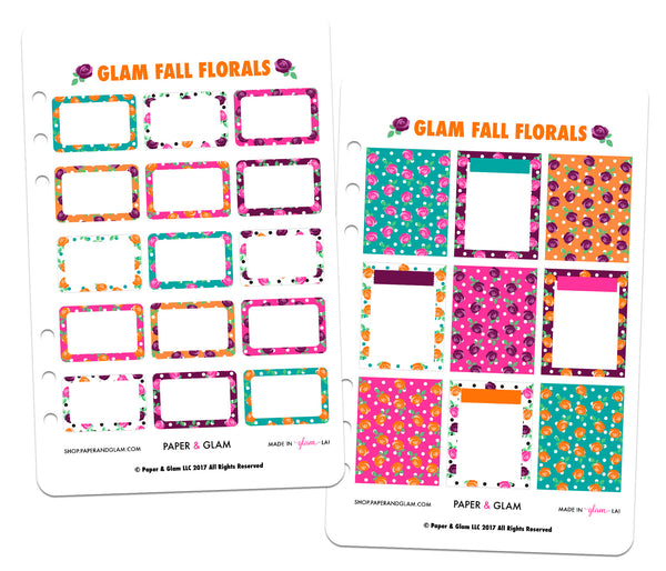 Glam Fall Floral Basics Planner Stickers