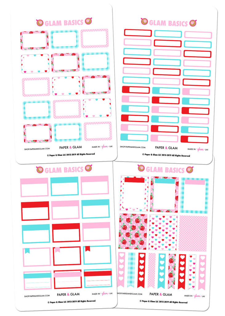 Glam Basics February Digital Planner Stickers