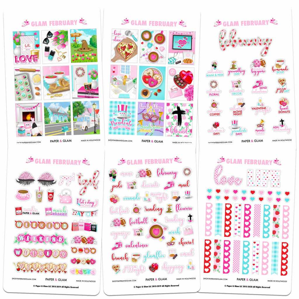 Glam February Digital Planner Stickers