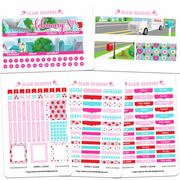 Glam February Headers Digital Planner Stickers