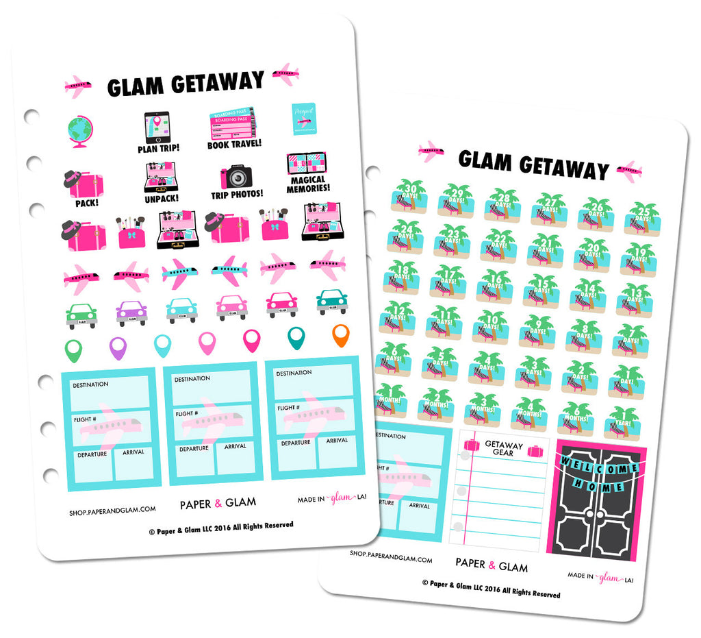 Glam Getaway Digital Planner Stickers