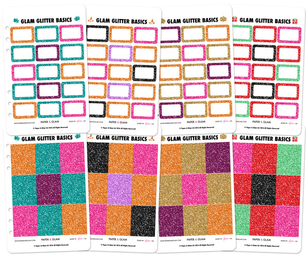 Glam Glitter Fall & Holiday Basics Planner Stickers
