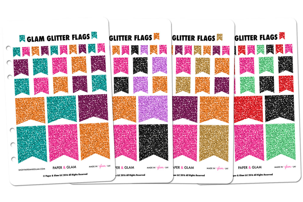 Glam Glitter Fall & Holiday Flags Planner Stickers