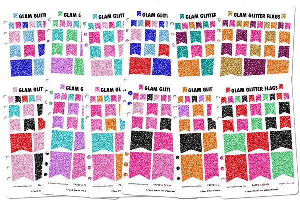 Glam Glitter Flags 365 Planner Stickers