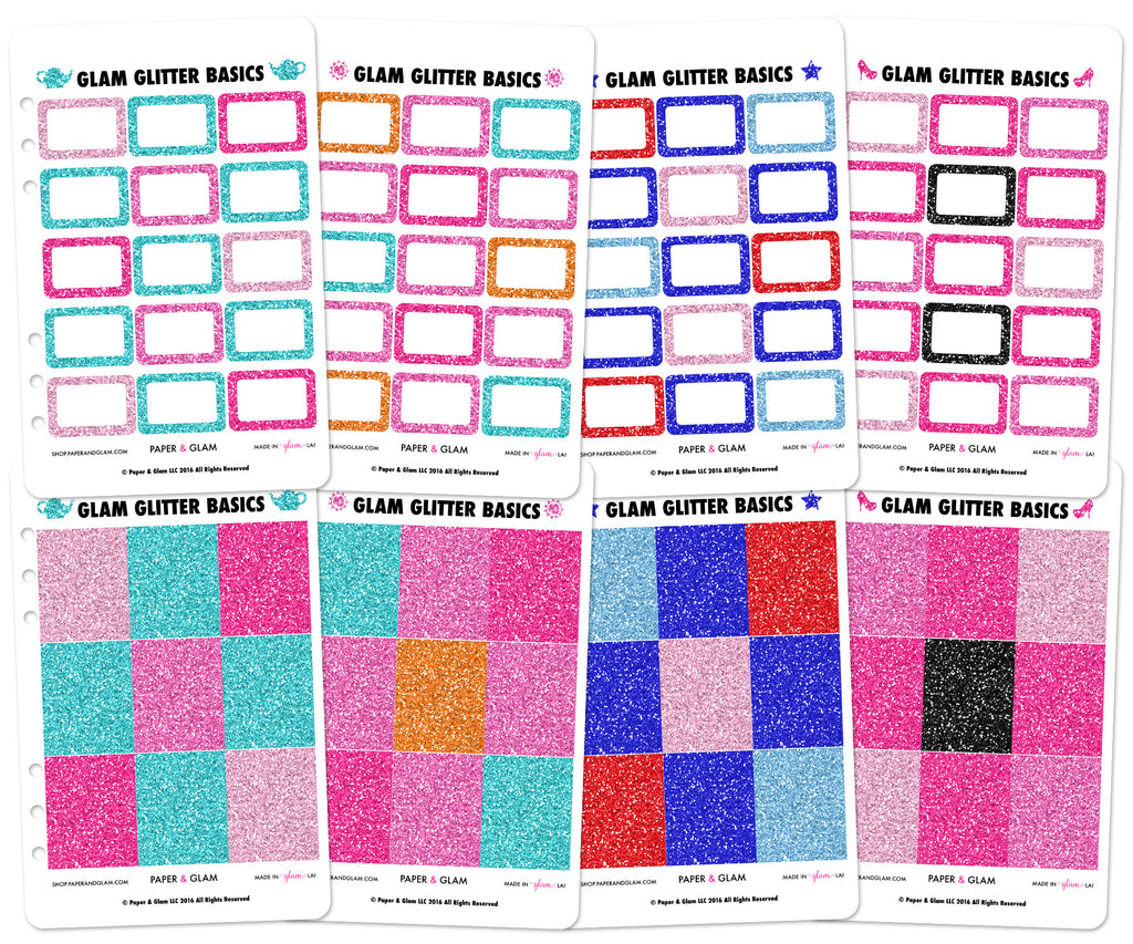 Glam Glitter Summer Basics Planner Stickers