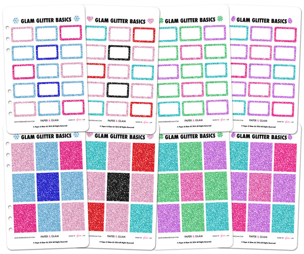 Glam Glitter Winter & Spring Basics Planner Stickers