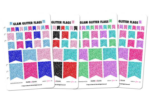 Glam Glitter Winter & Spring Flags Planner Stickers