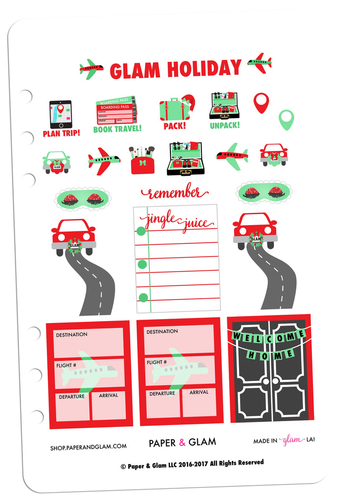 Glam Holiday Getaway Planner Stickers