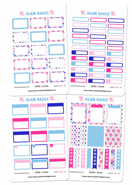 Glam January Basics Planner Stickers