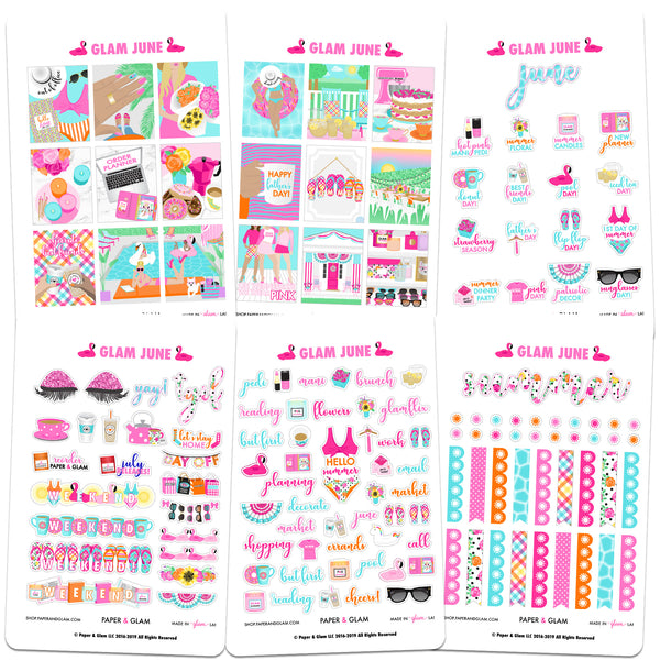 Glam June Digital Planner Stickers