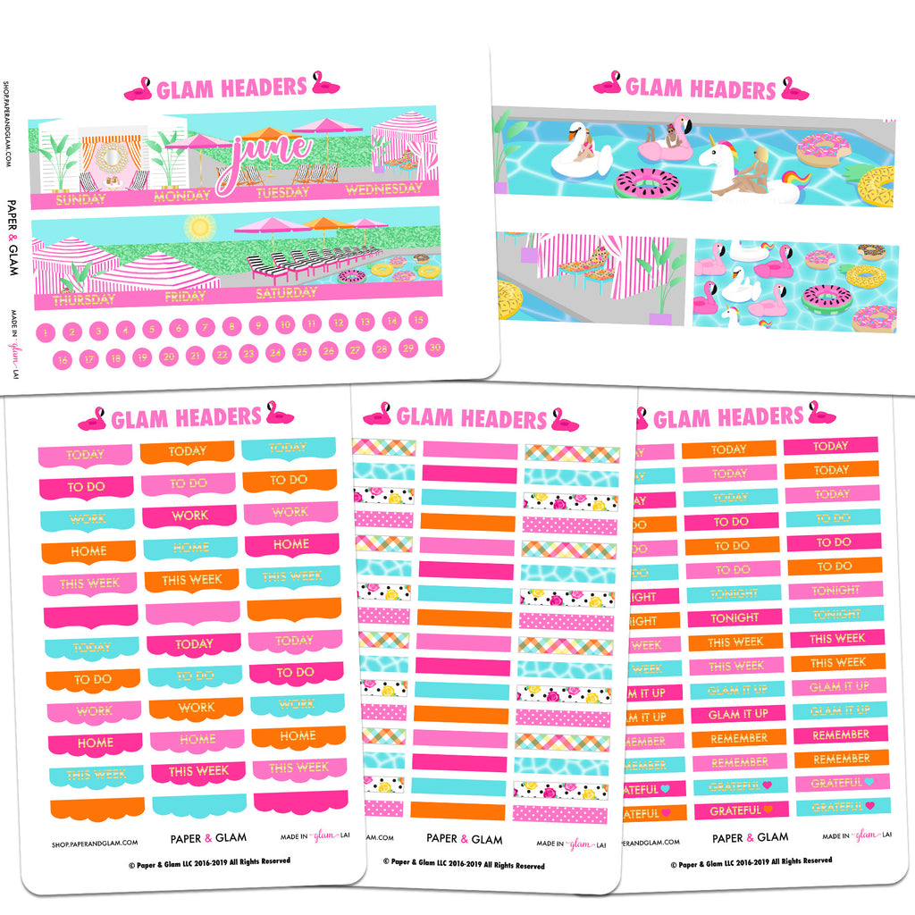 Glam June Gold Foil Headers Planner Stickers
