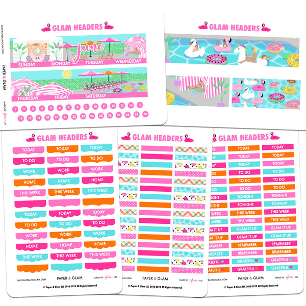 Glam June Headers Planner Stickers