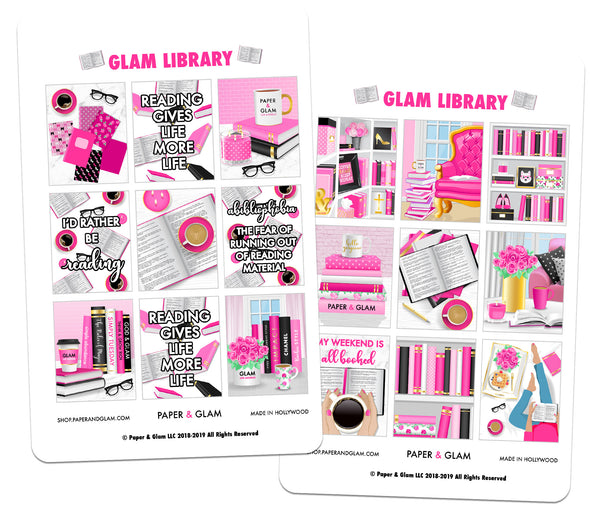 Glam Library Digital Planner Stickers