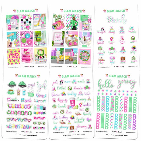 Glam March Digital Planner Stickers