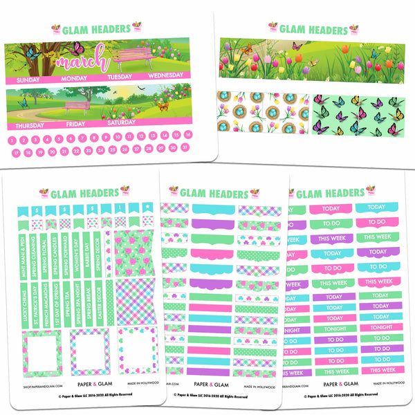 Glam March Headers Planner Stickers