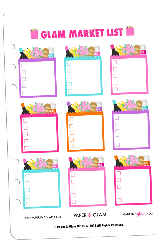 Glam Market List Digital Planner Stickers