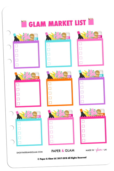 Glam Market List Planner Stickers