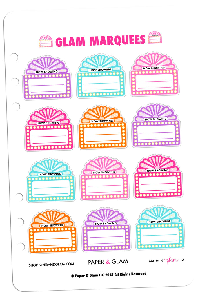 Glam Marquee Digital Planner Stickers