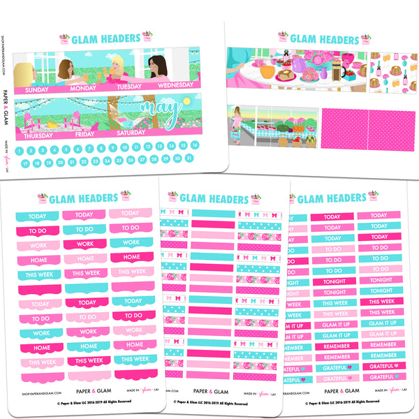 Glam Headers May Digital Planner Stickers