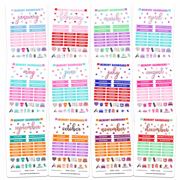 Glam Memory Keeping Dashboard 365 Planner Stickers
