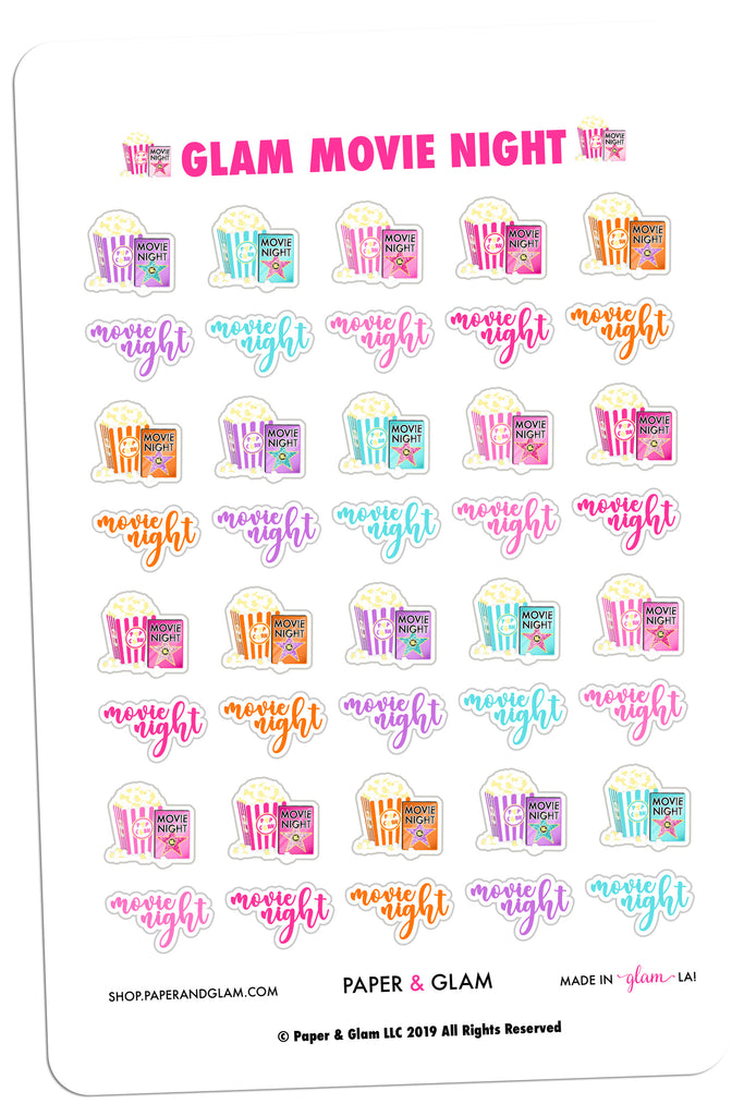 Glam Movie Night Digital Planner Stickers