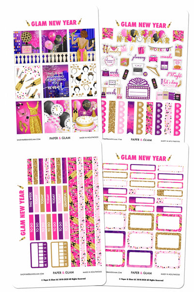 Glam New Year Weekly Kit Digital Planner Stickers