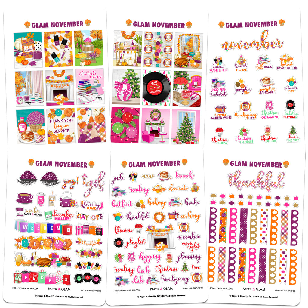 Glam November Digital Planner Stickers