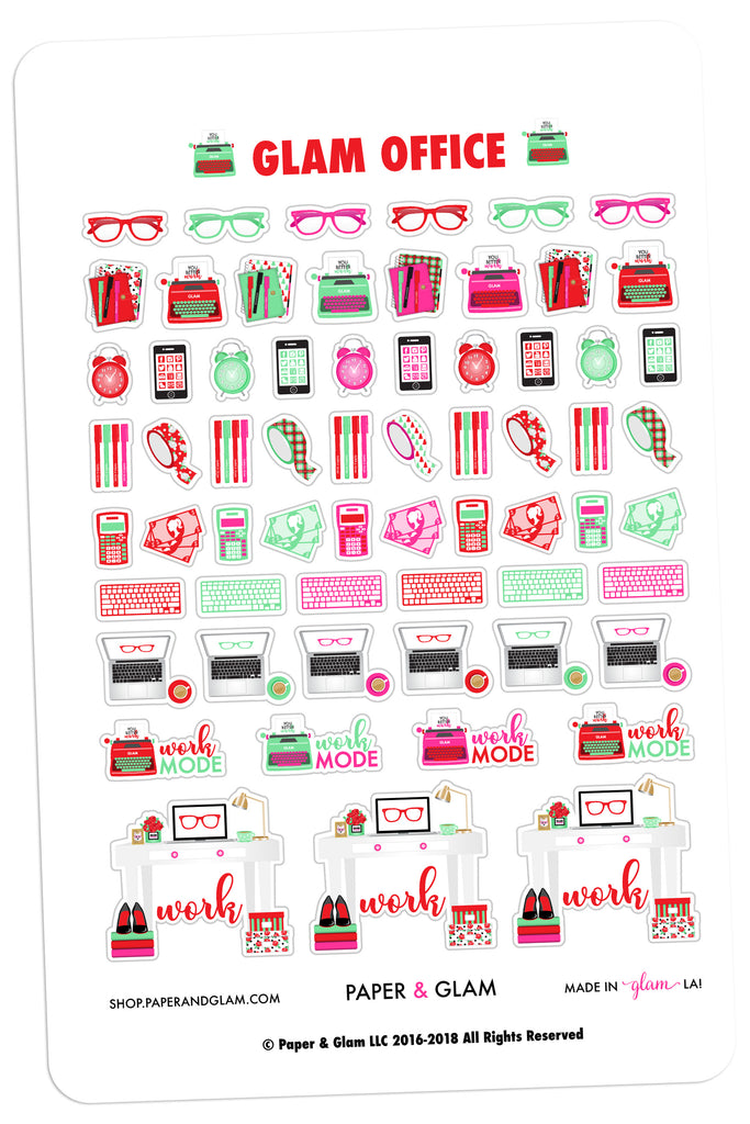 Glam Office December Planner Stickers