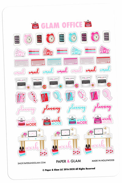 Glam Office February Planner Stickers
