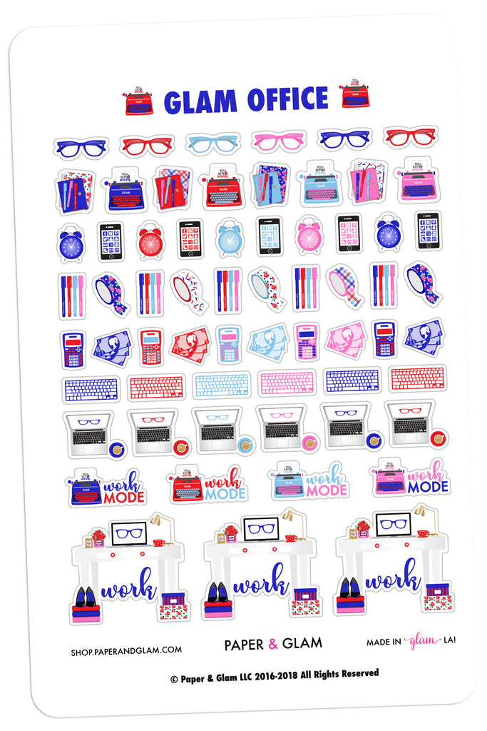 Glam Office July Planner Stickers
