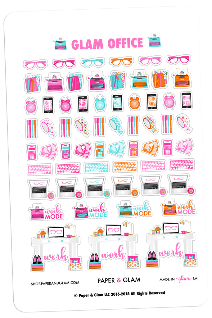 Glam Office June Planner Stickers