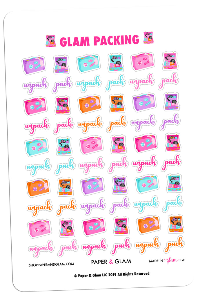 Glam Packing Digital Planner Stickers