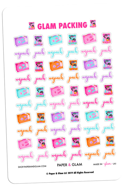 Glam Packing Planner Stickers