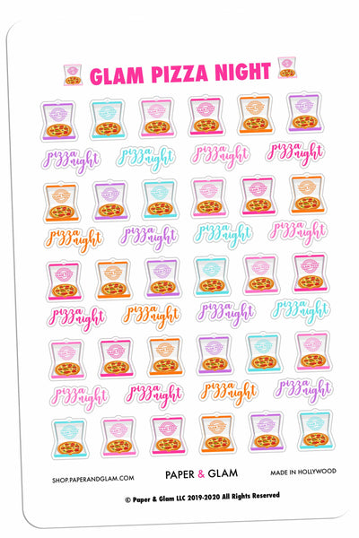 Glam Pizza Night Digital Planner Stickers