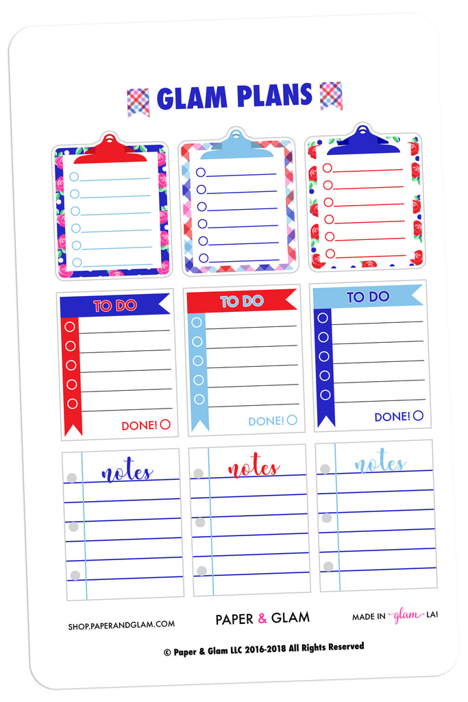 Glam Plans July Planner Stickers