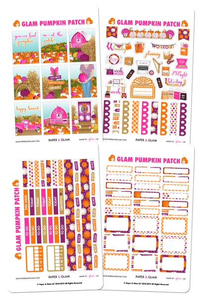 Glam Pumpkin Patch Weekly Kit Planner Stickers