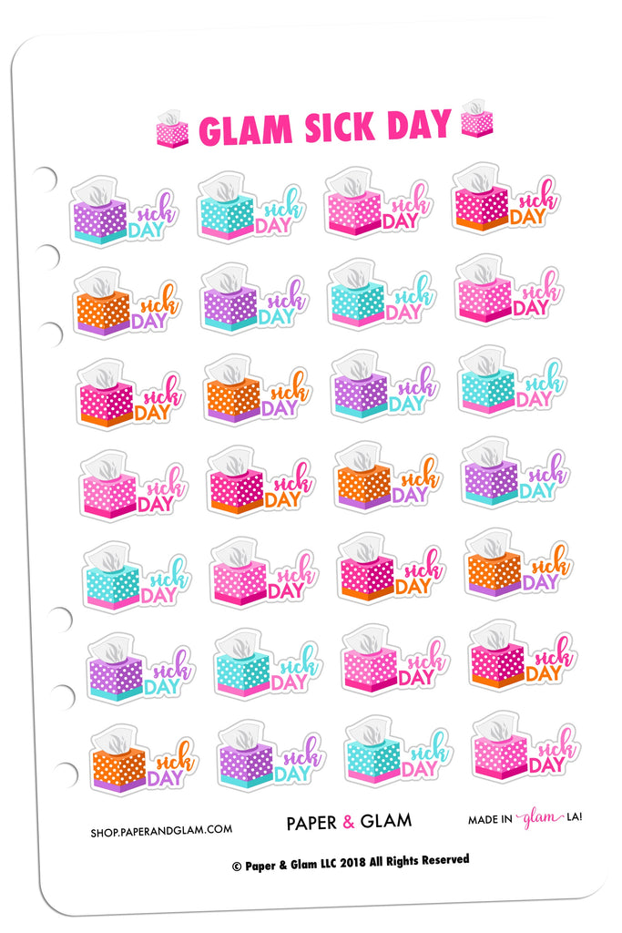 Glam Sick Day Planner Stickers