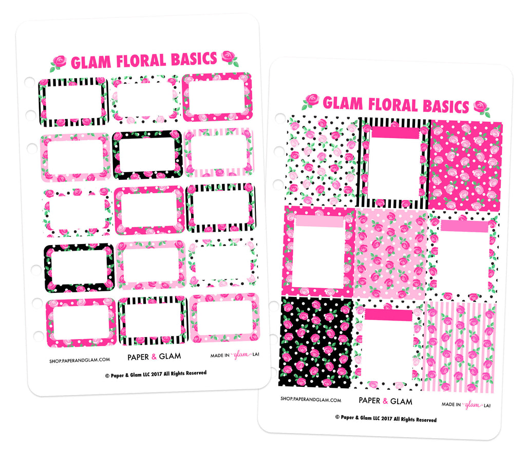 Glam Signature Floral Basics Planner Stickers