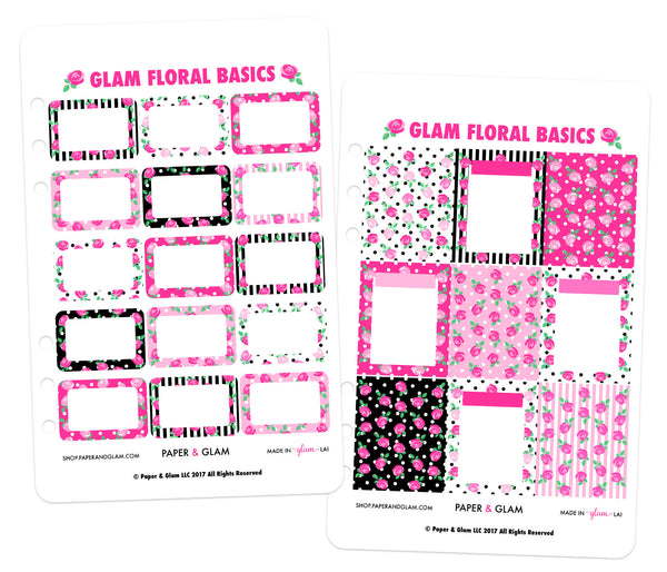 Glam Signature Floral Basics Digital Planner Stickers