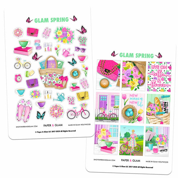 Glam Spring Digital Planner Stickers