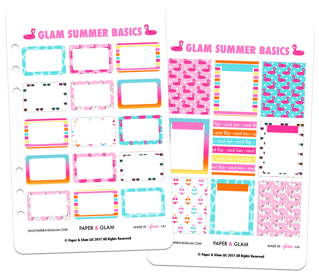Glam Summer Basics Planner Stickers