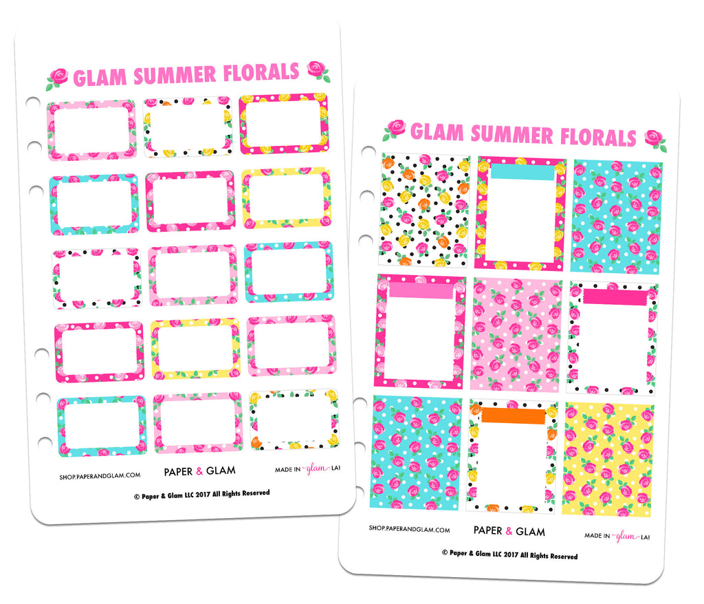 Glam Summer Floral Basics Planner Stickers