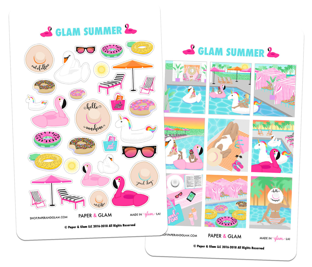 Glam Summer Digital Planner Stickers